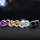 Earring E0942 Wholesale Promotion Real 925 Sterling Silver Stud Earring Round Zircon CZ Fashion 4 Claws Jewelry