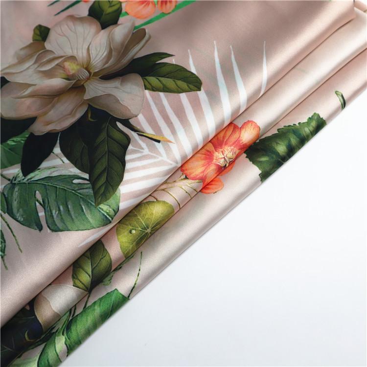 Custom floral print on fabric service 100% polyester satin fabric for pajamas