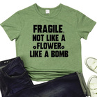 Fragile Not Like A Flower Print New Womens Blouse Short Sleeve T Shirts And Tops Shirts Summer Women Shirts
