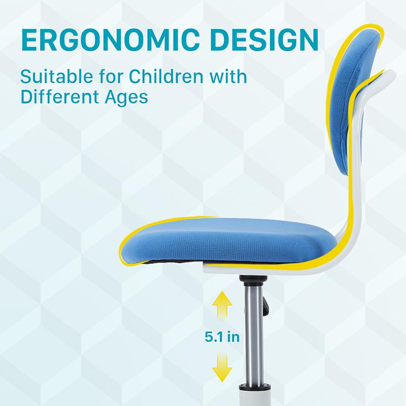 Мягкая спинка и с регулировкой по высоте, для детей, подростков и студентов для мальчиков и девочек, синее детское кресло
