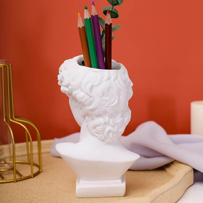 Wall art decor home decor luxury home decor 11cm high resin plaster David Head Vase Figure Statue Desktop cosmetic pencil holder