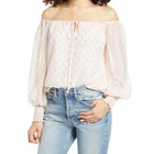 Off shoulder Billowy Sleeves Tie Neck Blush Gold Clip Dot Female Blouse Women's Top