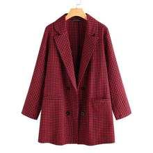 Женский клетчатый Блейзер ZANZEA, модный офисный блейзер с карманами и пуговицами, 5XL, 2020(Китай)