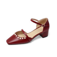 PXELENA/Босоножки Mary jane с жемчужинами в стиле знаменитостей; Женская обувь из натуральной кожи; Обувь для вечеринок и офиса; Женская модельная о...(Китай)