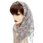 Cotton Scarf Fashion Lace Hijab Cotton Pearl Scarf 2019 Latest Muslim Lace Trimming Beads Hijab Stoles