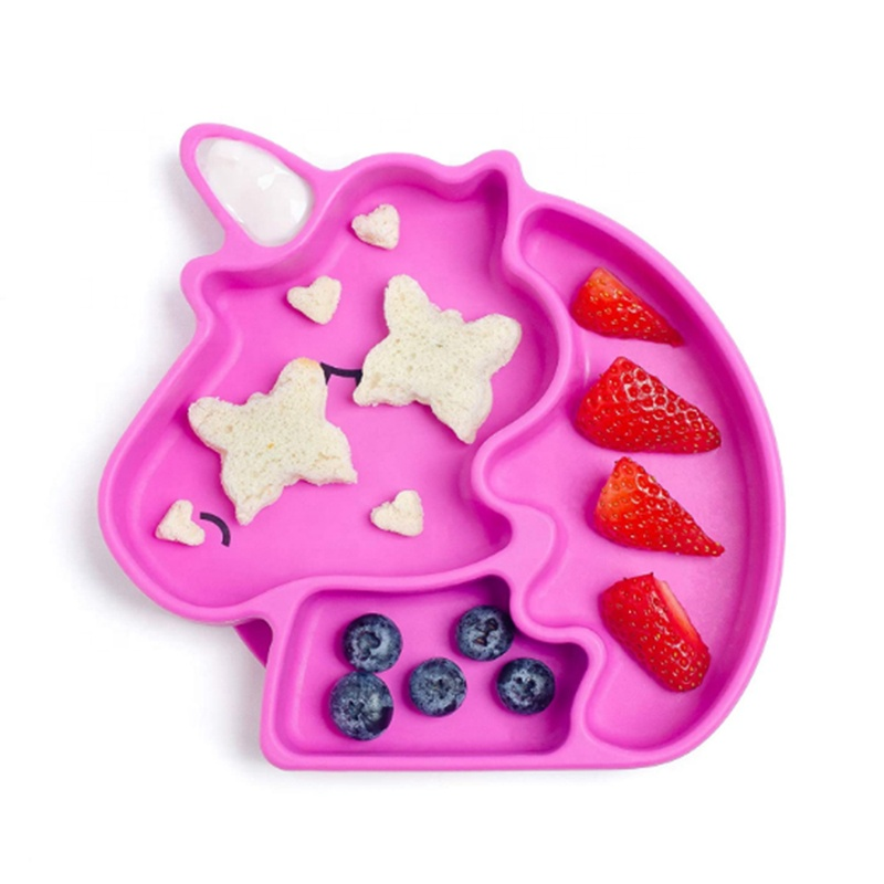 NEW style Waterproof Silicone unicorn Baby plate and spoon suction BPA Free  Baby Silicone Bibs Wholesale