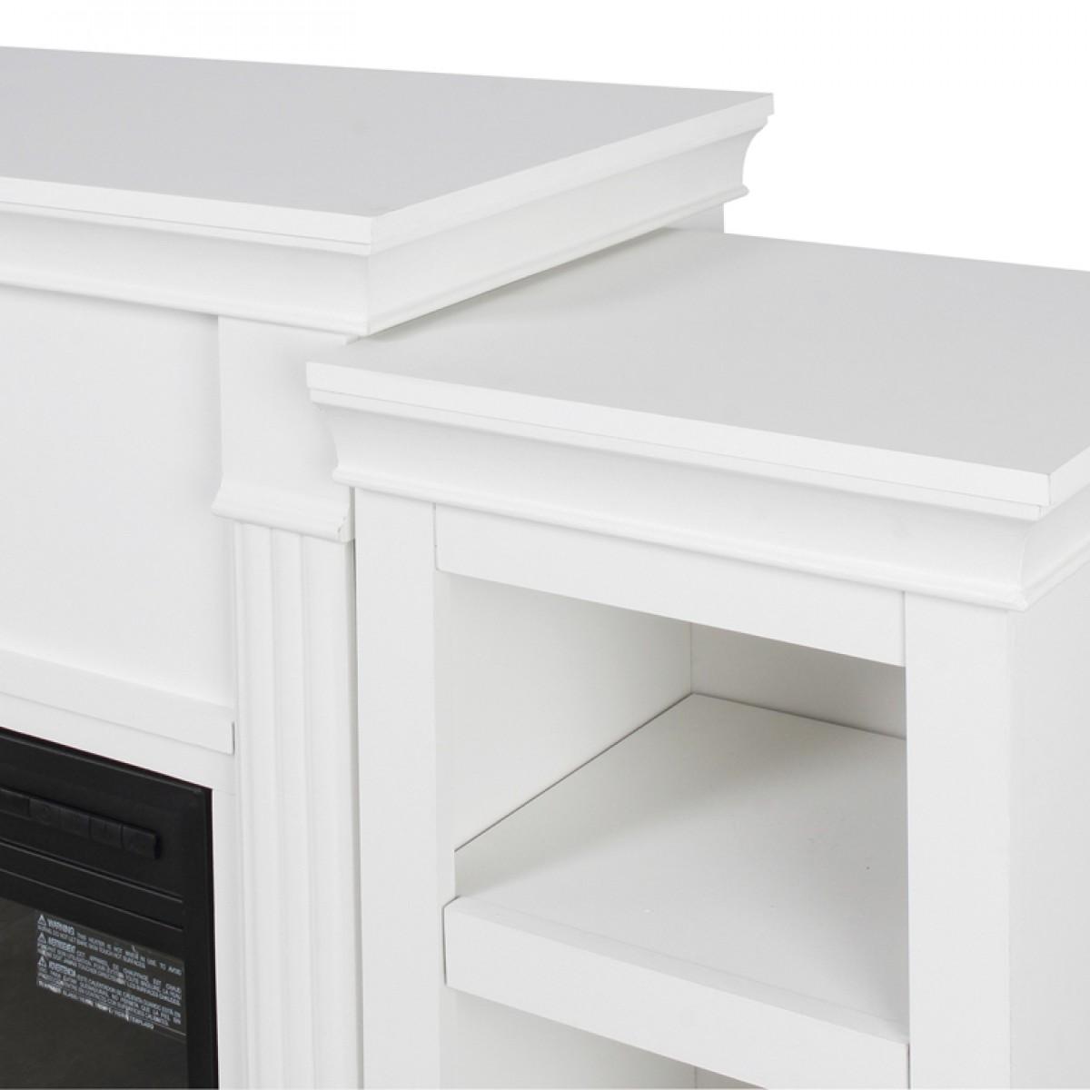 Встраиваемый электрический камин, подставка для телевизора со съемными боковыми шкафами, под дерево, кремово-белый цвет
