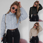 Autumn Sweater Autumn And Winter Turtleneck Knit Cropped Short Sweater Pullovers