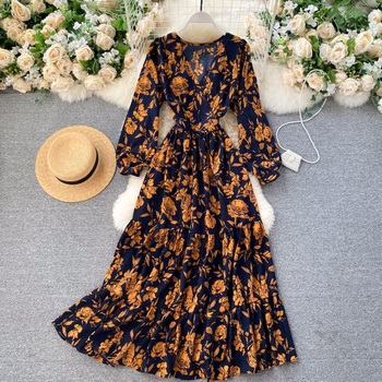 Bohemian Hot sale Floral Print modern design europe style all types of ladies flower night dresses