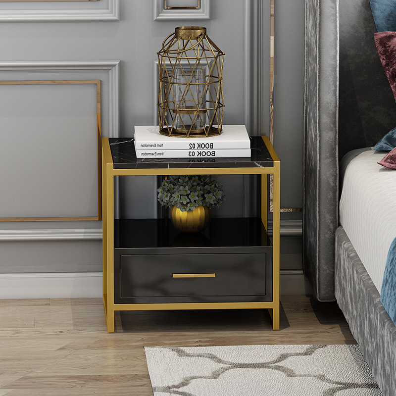 New high quality light luxury marble table top single drawer bedside table suitable for living room bedroom storage cabinet