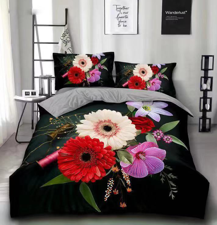 3d sunflower printing 100% polyester fabric brushed bedsheet fabric