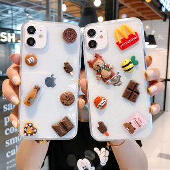 INS Korea 3D Epoxy Crystal Chocolate Candy Donut Coffee Bear Gummy Case for iPhone 11 12 Pro X XS MAX Xr 7 8
