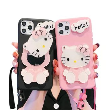 Hot sales Cartoon make up mirror soft TPU cover hello kitty phone case For Apple iPhone 12pro Max Xs ip11