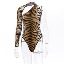 Hugcitar 2020 Тигр принтом принт одним открытым плечом, сексуальные комбидресс бодисьют на осень-зиму женское уличная одежда Клубные наряды обле...(Китай)