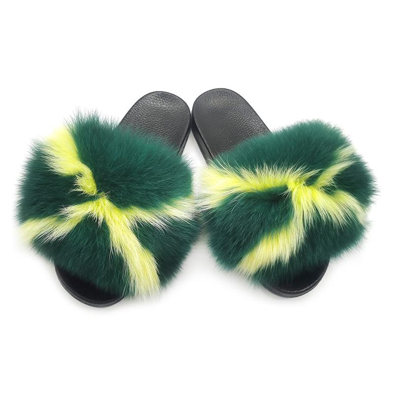 Factory wholesale pvc slides ladies raccoon fur slippers women soft real fox fur slides