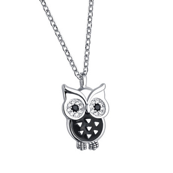 Cute Zircon Owl Pendant for ladies clavicle chain S925 sterling silver necklace