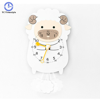 Wooden Clocks Handcraft Living Room Wall Clock Swing Timer Decoration Tools Children Cute Pendulum Animal Mute Watch Nordic