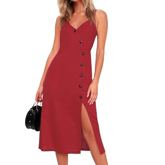 Модное дизайнерское коктейльное платье на бретельках с асимметричными пуговицами спереди