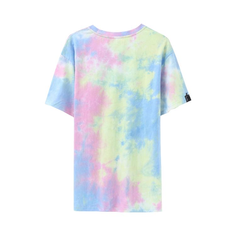 Экологичная Однотонная футболка из 100% хлопка с коротким рукавом, уличная одежда с принтом тай-Дай, Топ для женщин