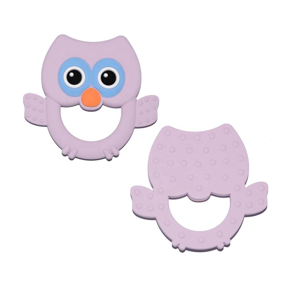 Wholesale New Design Custom Animal Cute Owl Food Grade BPA Free Soft Teething Toy Silicone Baby Teether