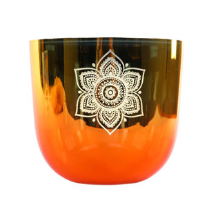 Handmade Quartz Crystal Singing Bowl Color Changing Alchemy Singing Bowl with Life Flower Engraving