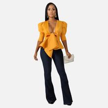 Весна 2020, женская блузка с глубоким v-образным вырезом и рюшами, бандажная Повседневная укороченная блузка с рукавами-фонариками, рубашка, э...(Китай)