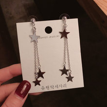 Женские длинные серьги-кисточки FACEINS, корейские серьги-кольца с асимметричной звездой, милые женские серьги-кольца(Китай)