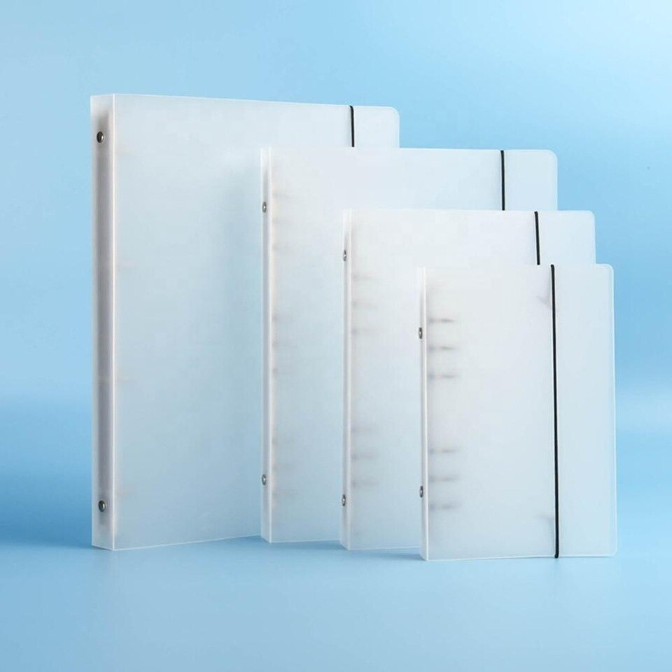 Clear PP ring binder PP 4 holes binder folder plastic pp clip file folder with customized size