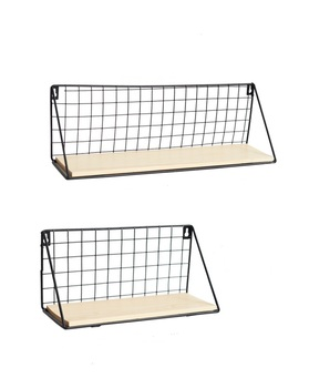 Wholesale custom made set of 2 wall mounted metal wire storage baskset shelf with solid wood