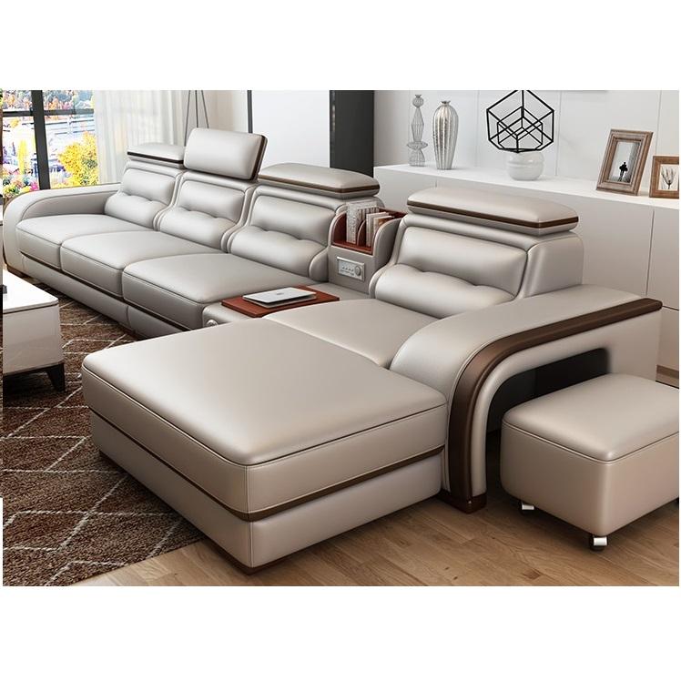 Big house combination living room set real genuine leather sofa