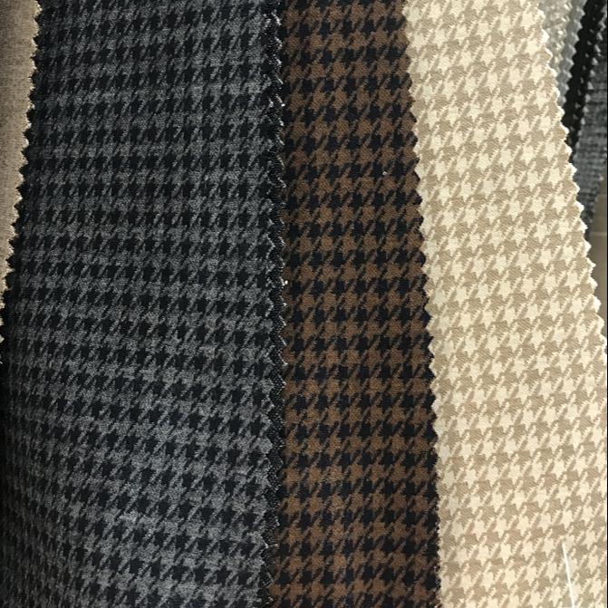 Устойчивое переработанное волокно, верхняя окрашенная трикотажная жаккардовая ткань из полиэстера и спандекса, шерстяная ткань для пальто