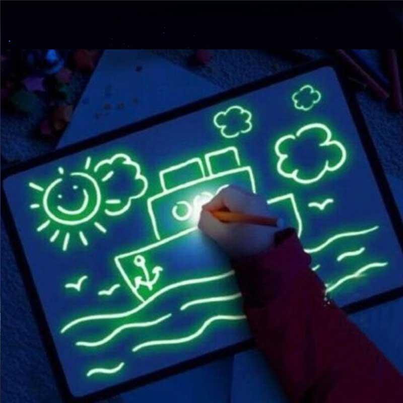 Забавные Развивающие детские игрушки, волшебная подкладка, светодиодная флуоресцентная доска для рисования
