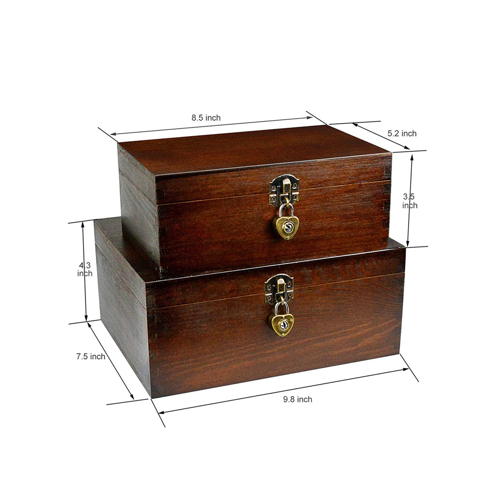 Vintage Wooden Storage Boxes Treasure Chest with Lock /& Key for Jewelry Keepsake