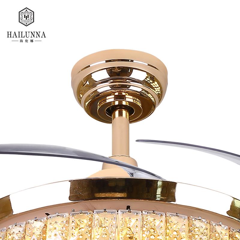 China Supplier Modern Luxury Design Crystal Chandelier Foldable Ceiling Fan Light