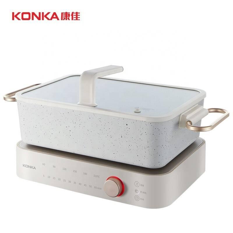 Многофункциональный Электрический горшок Konka 4L, бытовой горшок для барбекю раздельного типа, многофункциональный большой емкости
