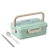 Green box and stainless steel spoon , chopsticks