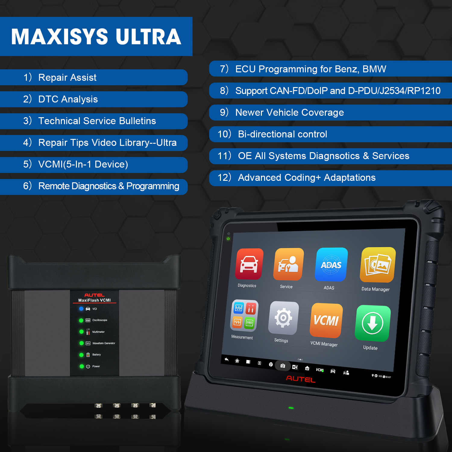 Autel Usa Maxisys Ultra Diagnostic Tablet Ms 919 Car Diagnostic Scanner  Tool Ecu Programmer With Advanced Vcmi - Buy Autel Maxisys Ultra,Autel Usa  Maxisys Ultra Diagnostic Tablet,Autel Ultra Product on Alibaba.com