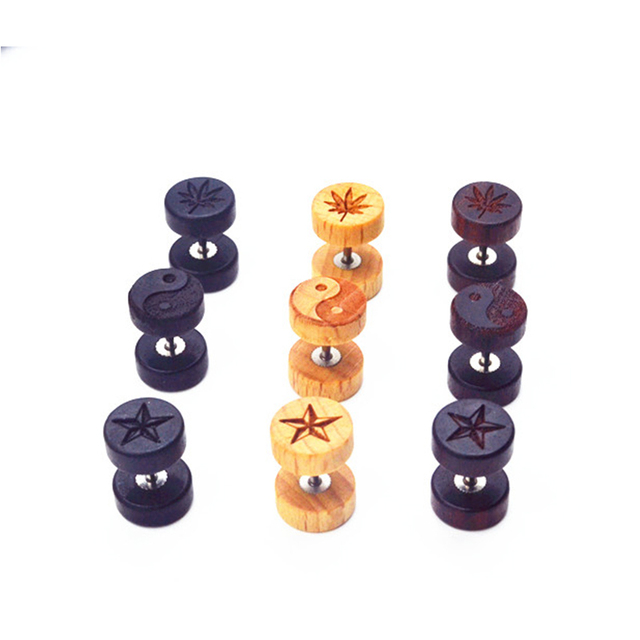 Wood Body jewelry Ear Stud /Earring Ear Plugs Cheat Tunnels Illusion Plugs 16g Three Colors Logos