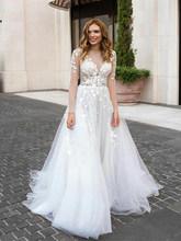 Лори Бохо свадебное платье с длинным рукавом Тюль Белый Винтаж Кружева Аппликации Свадебные платья Vestido De Novia на заказ(China)