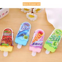 Набор ластиков для мороженого, 4 шт., ластик для мороженого, Ластики для карандаша, корейские Канцтовары, школьные принадлежности, подарок дл...(Китай)
