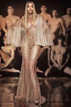 Блестящая одежда яркое просвечивающее Клубное платье с блестками наряд для певицы для танцев дня рождения отпразднования прозрачные длинн...(Китай)