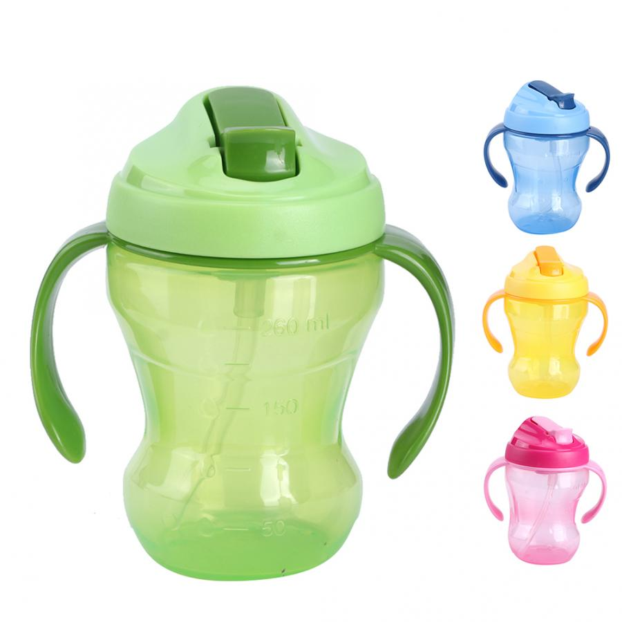 Leakproof 260ML Baby Child Drinking Water Cup Silicone Straw Training Sippy Cup With Handle