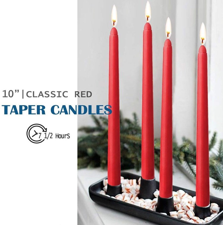 European Romantic wedding Western-style hotel Smokeless Red Long Taper Candle of 14 pack