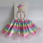 Girls Skirt Girls Christmas Fashion Girls Wedding Party Rainbow Fish Scale Tutu Skirt Set With Crown Headband Star Wand