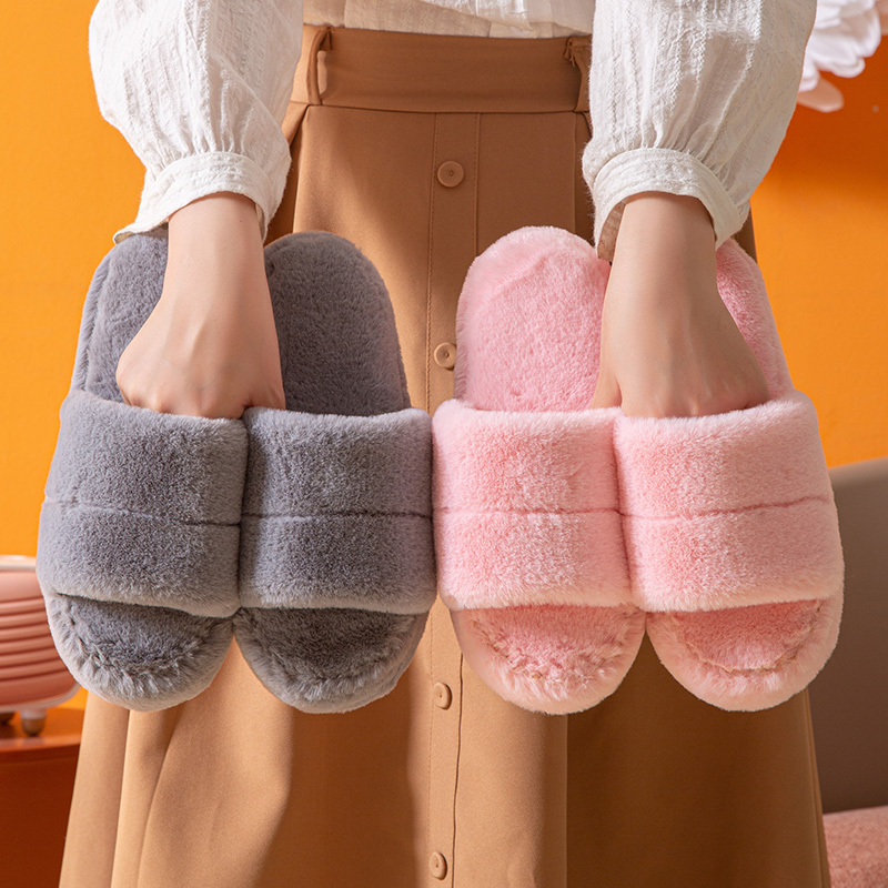 Wool slippers female cross-border new thick bottom home slide outside wear fashion version of cotton slippers