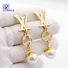 Earrings Gold New Fashion Earrings Gold Plated Stainless Steel Letter Earrings Clover Jewelry For Women