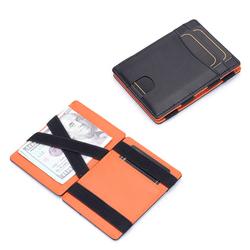 Thin Minimalist Credit Card Holder Wallet Bifold Wallet RFID Blocking Genuine Leather Men's Magic Wallet
