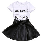 Wholesale Short Sleeve Pu Leather Skirt Korean Child Girls Summer 2Pcs Clothes Clothing Set