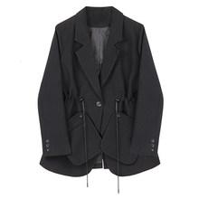 Женский пиджак на завязках EAM, черный свободный пиджак с отложным воротником и длинным рукавом, весна-осень 2020, 1H792(Китай)