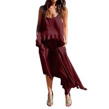 Женское летнее платье без рукавов ZANZEA, повседневное пляжное платье до середины икры с карманами и асимметричным подолом, модель 2020(Китай)
